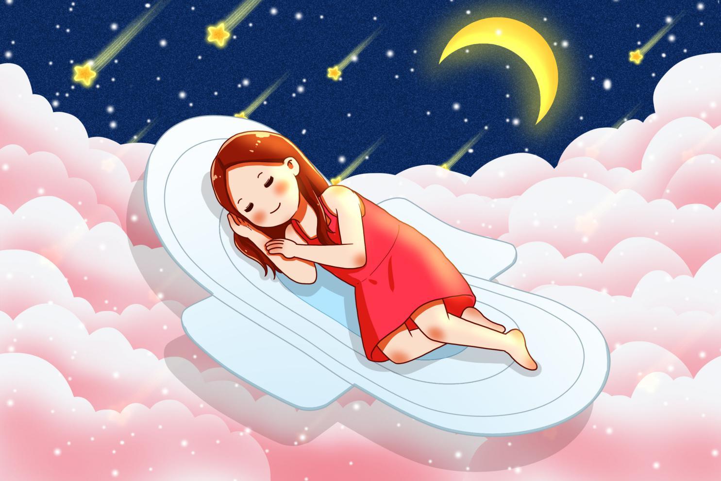 摄图网_401764726_在卫生巾上熟睡的女孩(非企业商用)