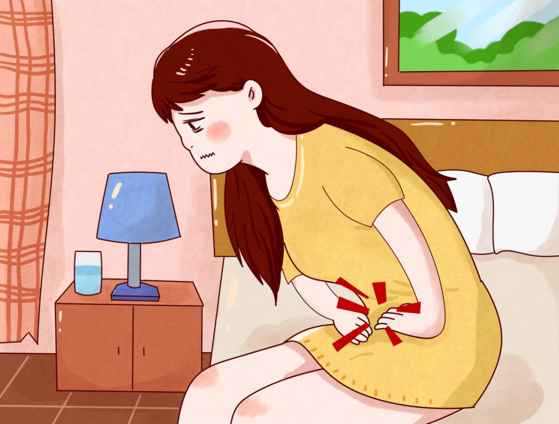 摄图网_401768412_女生月经肚子痛插画(非企业商用)